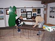 Instalace výstavy saintpaulií (na stěnách zdejší expozice o Novém Zélandu)